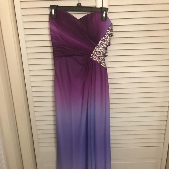 Dresses | Purple Ombr Gown Dress With Rhinestones | Poshmark